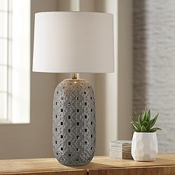 Possini Euro Daniel Gray Ceramic LED Night Light Table Lamp