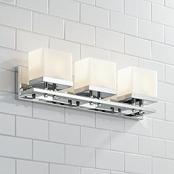 "Possini Euro Gareth 24 1/2""W Chrome and Glass Bath Light"