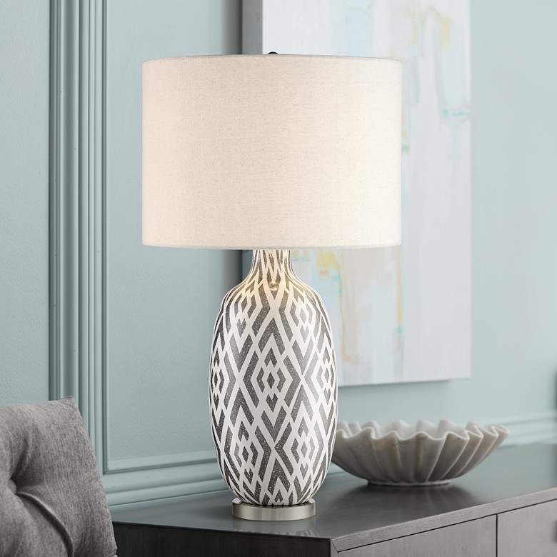 Possini Euro Jake Gray and White Ceramic Table Lamp