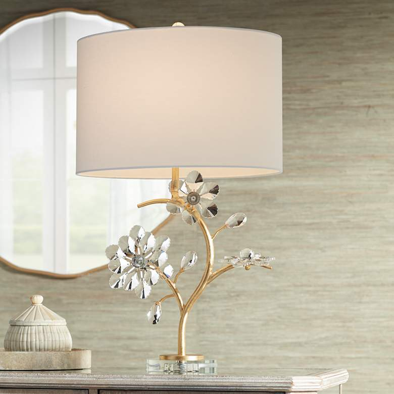 Possini Euro Lani Gold Floral Crystal Table Lamp