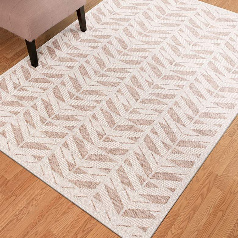 "Farmhouse 3201 5'x7'7"" Beige Chevron Indoor-Outdoor Area Rug"