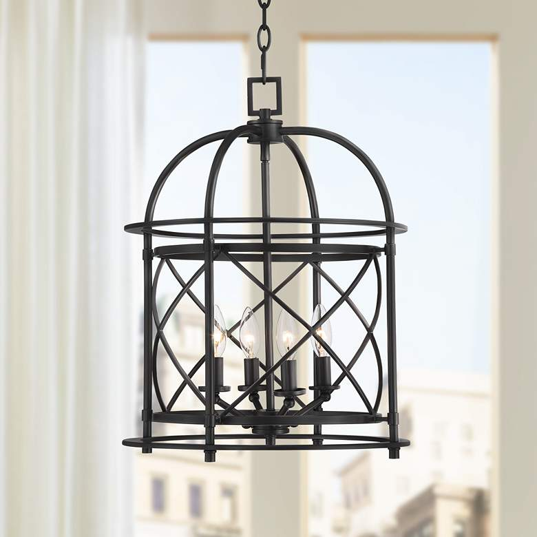 "Bourne 16"" Wide 4-Light Bronze Entry Pendant Light"