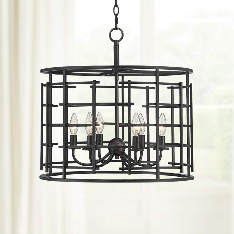 "Pascal 20"" Wide 6-Light Bronze Drum Cage Pendant"