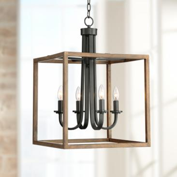 "Framingham 16 3/4"" Wide Wood Grain 4-Light Entry Pendant"