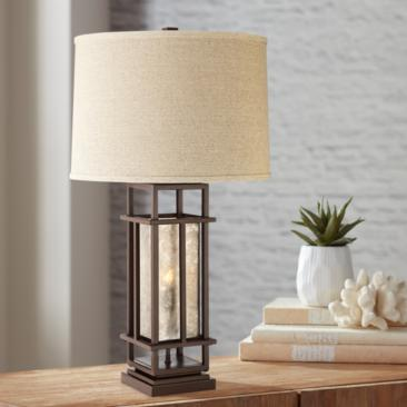 Matthew Brown Metal Table Lamp with LED Night Light
