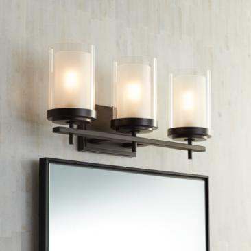 "Possini Euro Sannah 21 3/4""W Double Glass Bronze Bath Light"