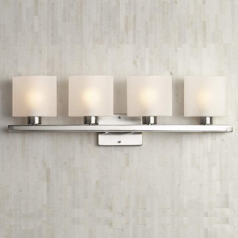 "Possini Euro Linen Glass 32"" Wide Brushed Nickel Bath Light"