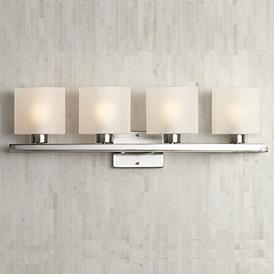 Possini Euro Linen Gl 32 Wide Brushed Steel Bath Light