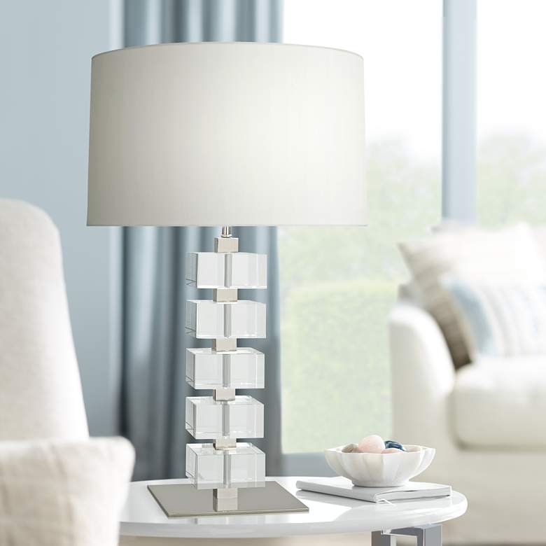 Jonathan Adler Monaco Polished Nickel Clear Block Table Lamp