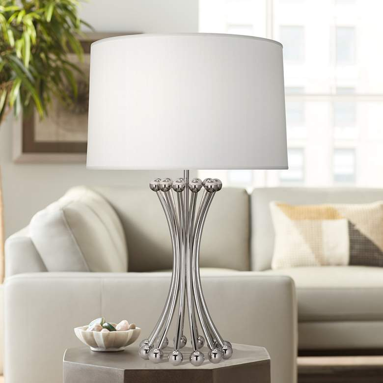 Jonathan Adler Polished Nickel Metal Table Lamp