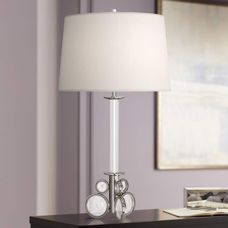 Atticus Polished Nickel w/ Swirled Bubble Glass Table Lamp