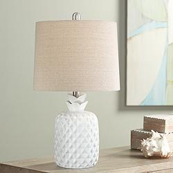 "Mikala 21"" High White Pineapple Accent Table Lamp"
