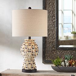 Keanu Ceramic Table Lamp with Bronze Metal Base