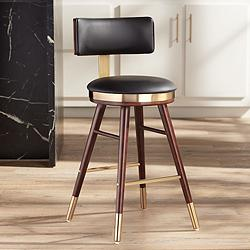 "Parker 25 1/2"" Black Leather Counter Stool"