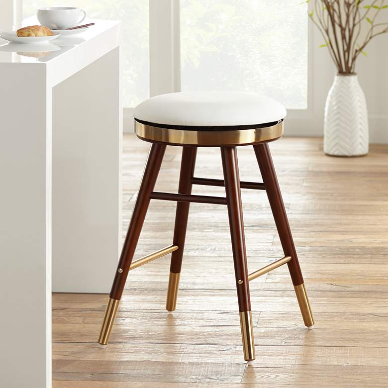 Parker White Leather Backless Counter Stool