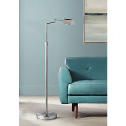Gala Satin Nickel Metal LED Swing Arm Floor Lamp