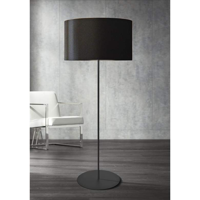 Irina Matte Black Metal Drum Shade Floor Lamp