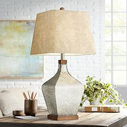 Saville Faux Leather Shade Mercury Glass Table Lamp