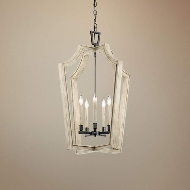 "Botanica 24"" Wide White-Washed Wood 5-Light Foyer Pendant"