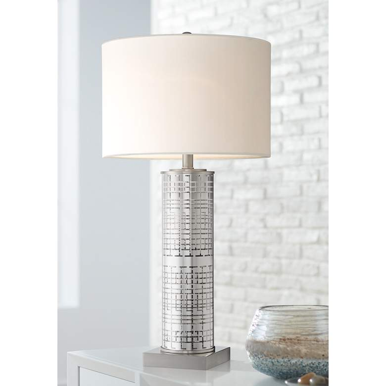 Novak Silver Glass Cylinder Table Lamp