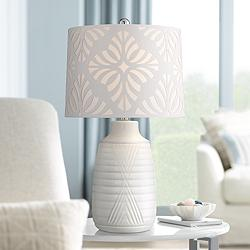 Abigail White Ceramic Table Lamp with Cutout Patterned Shade