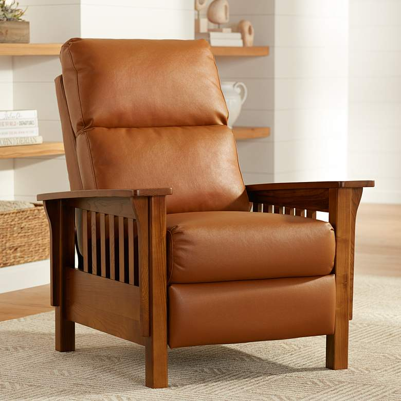Evan Augusta Saddle Brown 3-Way Recliner Chair