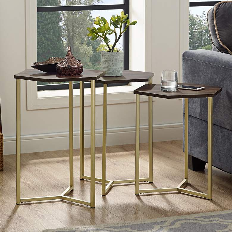 Hex Dark Walnut Top and Gold Metal Tables