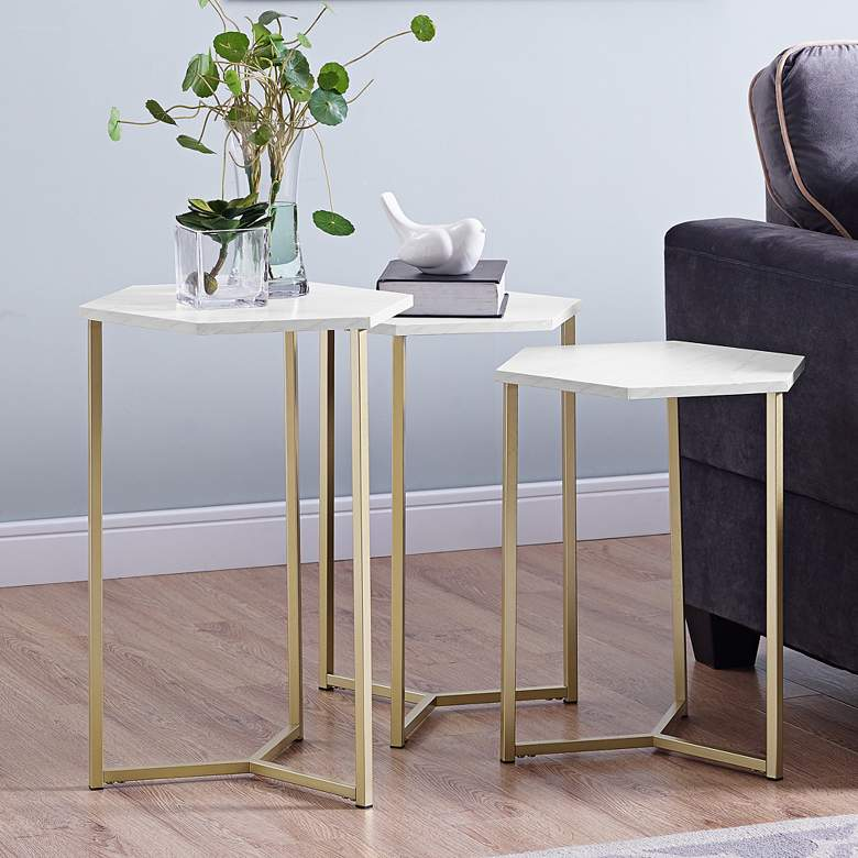 Hex Faux White Marble Top and Gold Tables Set of 3
