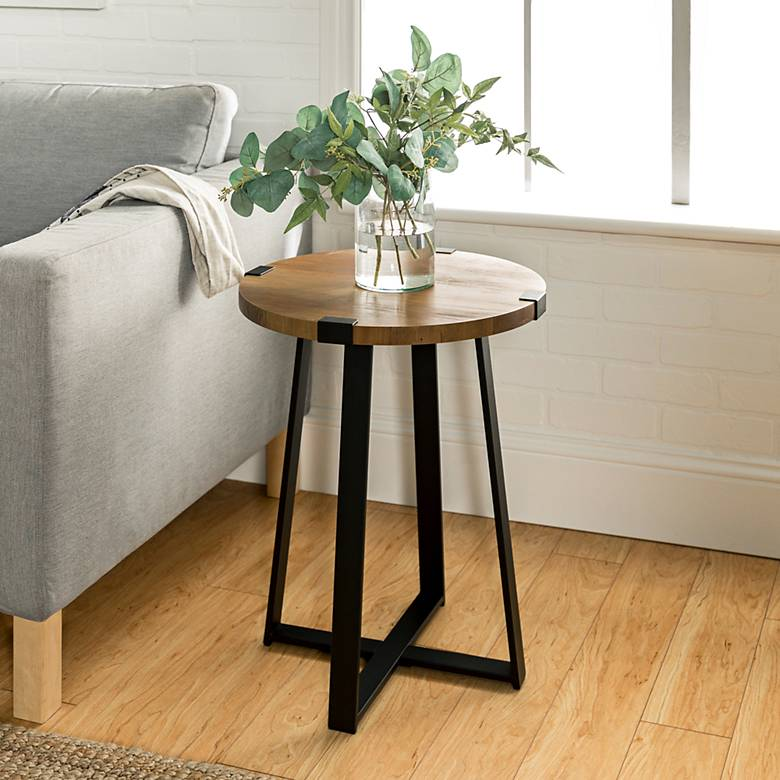 "Rustic 18"" Wide Metal Legs and Oak Top Round Side Table"