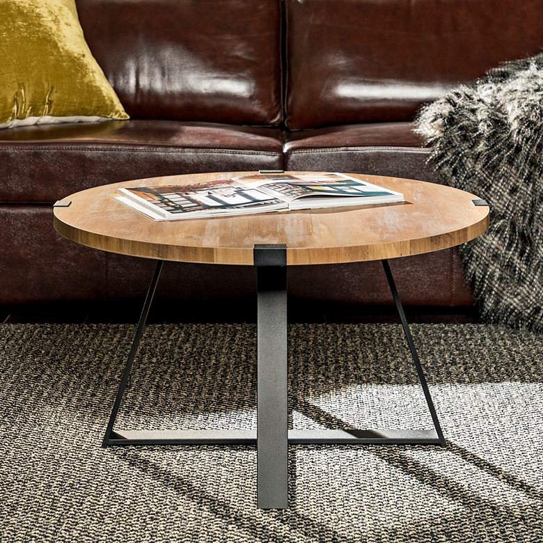 "Rustic 31"" Wide Metal Legs and Oak Top Round Coffee Table"