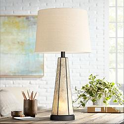 Melia Bronze Geometric Mica Table Lamp with Night Light