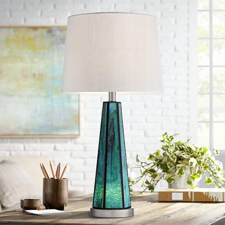Delia Blue Art Glass Table Lamp with Night Light