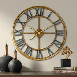 "Metallic Gold 28 3/4"" Round Hand-Made Iron Wall Clock"