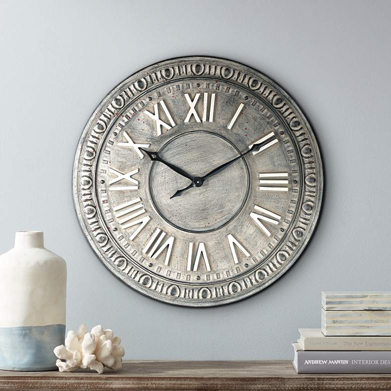 "Romana 24"" Wide Gray Roman Numeral Metal Wall Clock"