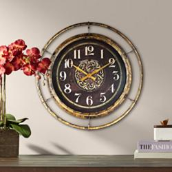 "Stewart 23"" Wide Distressed Gold and Brown Metal Wall Clock"