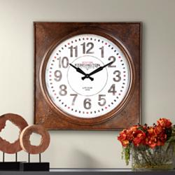 "Kensington Station 26 1/4"" Wide Square Metal Wall Clock"