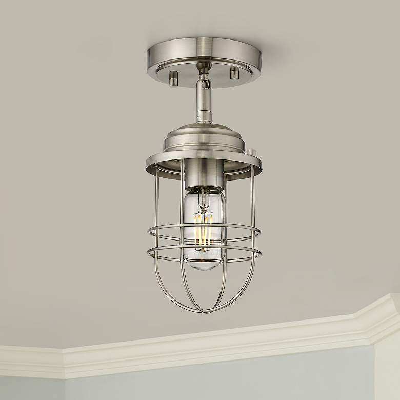 "Seaport 4 3/4"" Wide Pewter Convertible Pendant/Ceiling Light"