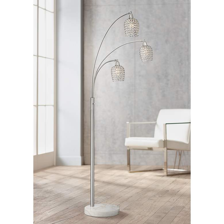 Possini Euro Cielo Brushed Nickel 3-Light Arc Floor Lamp