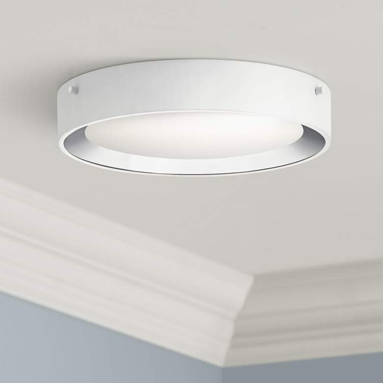 "Elan Incus 11 3/4"" Wide White and Chrome LED Ceiling Light"