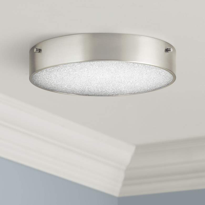 "Elan Crystal Moon 11 3/4""W Brushed Nickel LED Ceiling Light"