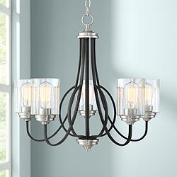 "Norah 25"" Wide Matte Black and Nickel 5-Light Chandelier"