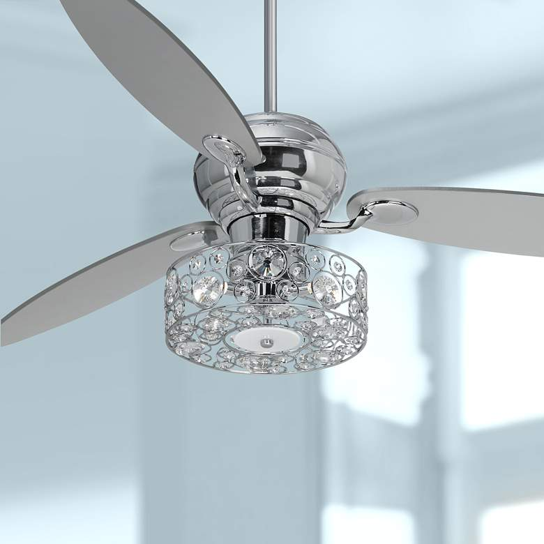 "60"" Spyder Chrome and Crystal Circles LED Ceiling Fan"
