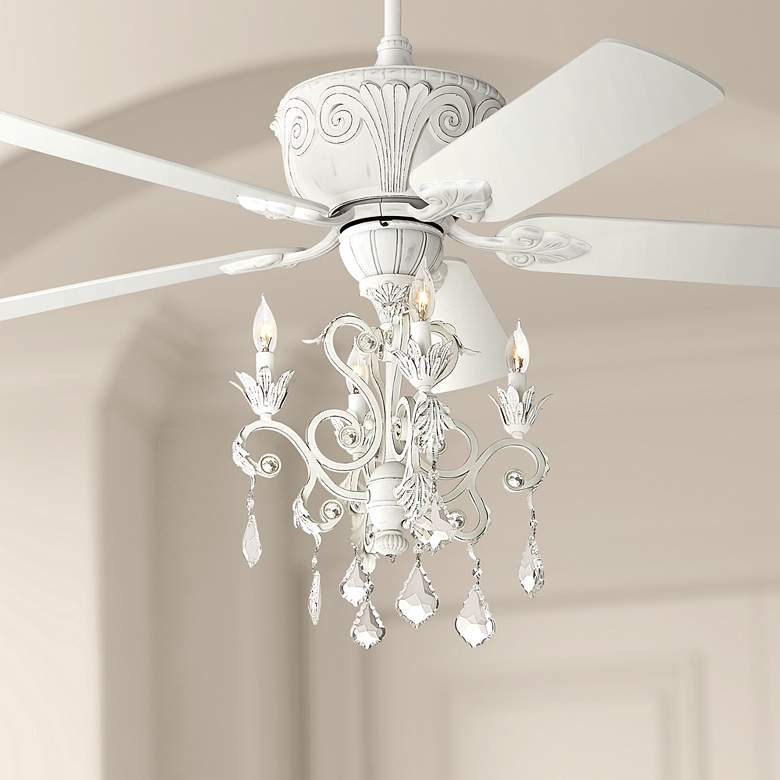 "52"" Casa Deville Rubbed White Chandelier LED Ceiling"