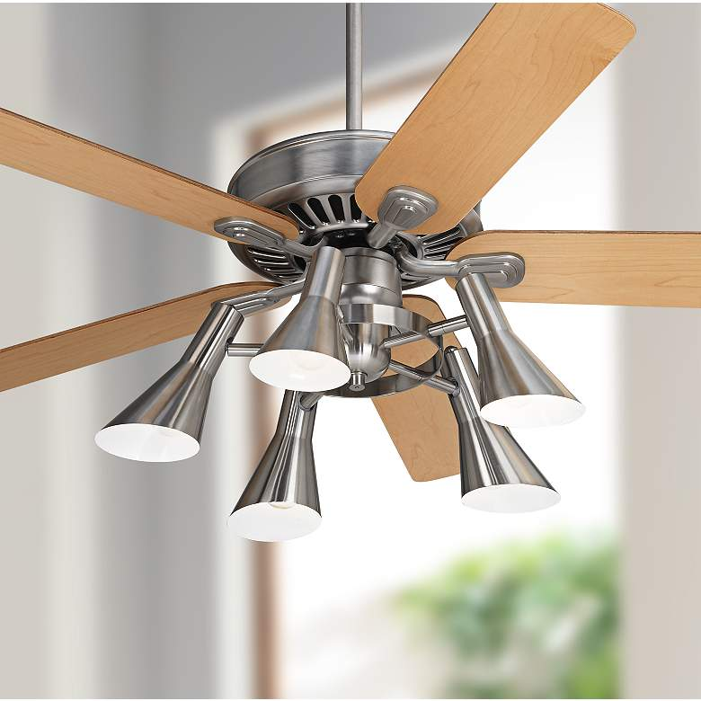 "52"" Windstar II Brushed Nickel and Maple LED Ceiling Fan"
