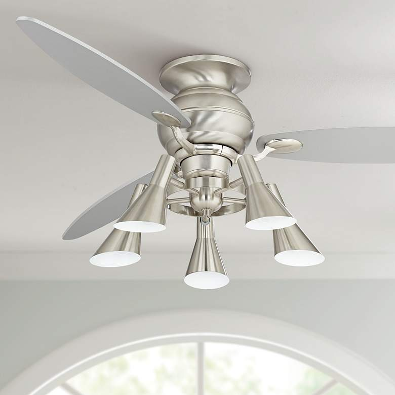 "60"" Spyder Hugger Silver Retro 5-Light LED Ceiling Fan"