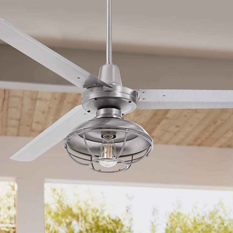"60"" Turbina AC Brushed Nickel Damp Outdoor LED Ceiling Fan"