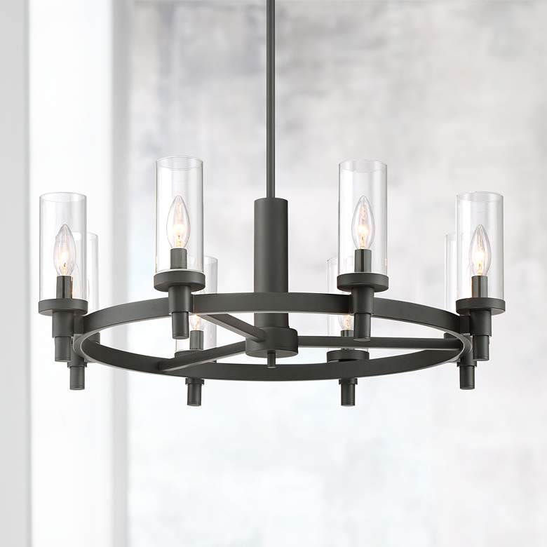 "Mancini 27 1/2"" Wide Black Circular 8-Light Chandelier"