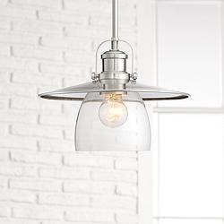 "Possini Euro Pava 12 1/4"" Wide Brushed Nickel Pendant Light"