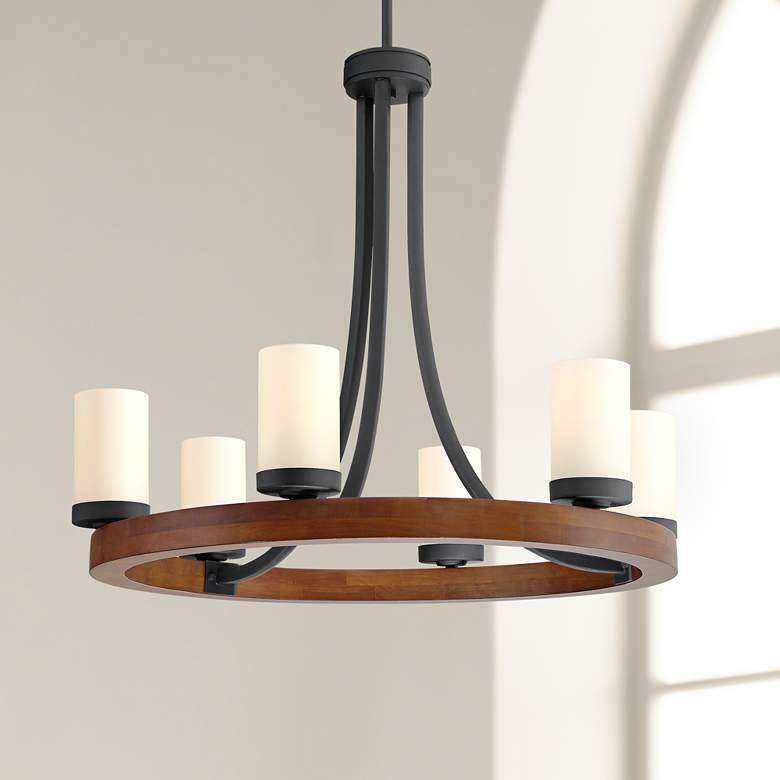 "Yelm 27"" Wide Textured Black and Wood 6-Light Chandelier"