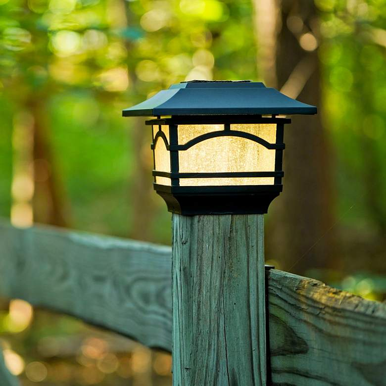 "Black 7""H Solar LED Outdoor Post Cap and Deck Light Set of 2"